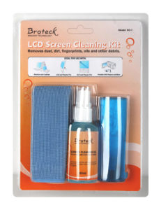 BRATECK LCD Cleaning Kit.           Includes 60ml non-drip cleaning liquid  antistatic brush and 20x20cm microfiber cloth.