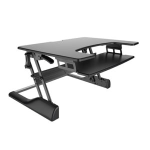 BRATECK Sit-Stand Desktop           Workstation Stand. Height  adjustable 130mm~500mm. Load  capacity 15kgs. Black.