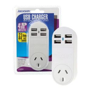 JACKSON Single Plug USB Wall        Charger  4x USB Charging Outlets (2.1A) Power status indicator  Surge Protector