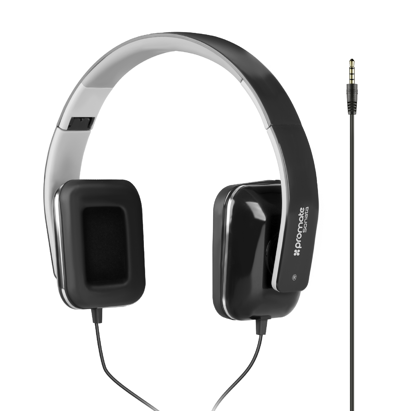 f0358ea0698 PROMATE Foldable Over-The-Ear Wired Stereo Headset. Black. - AVN ...